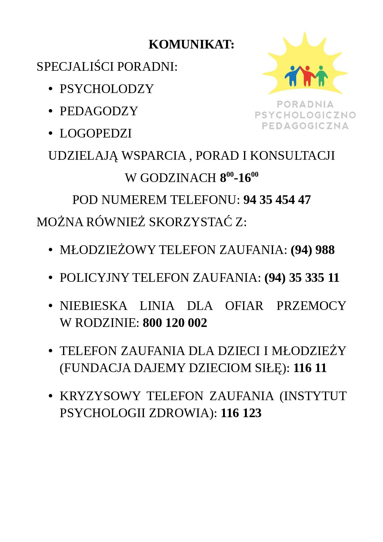 Komunikat z dnia 18.03 (2)